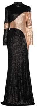 Rachel Zoe Women's Genevieve Two-Tone Sequin Column Gown - Black Champagne - Size 0
