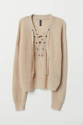 H&M Knit Sweater with Lacing - Beige