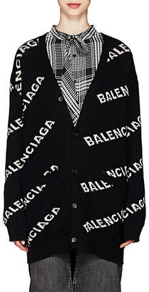 Balenciaga Women's Logo-Jacquard Wool-Blend Oversized Cardigan - Black