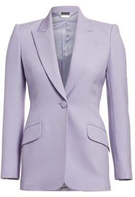 Alexander McQueen Women's Boxy Wool Blend Single-Button Jacket - Lilac - Size 38 (2)