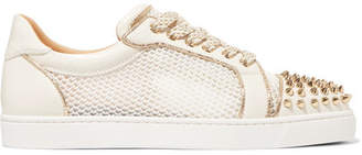 Christian Louboutin Ac Vieira Spike Leather And Mesh Sneakers - White