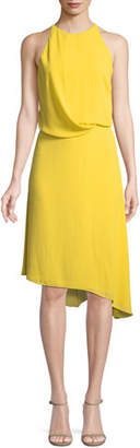 Halston Sleeveless Flowy Draped-Back Cocktail Dress