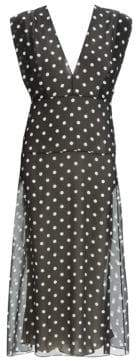 Theory Women's Deep-V Polka Dot Silk Midi Dress - Black Multi - Size 00
