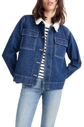 Madewell Denim Northward Crop Faux Shearling Collar Army Jacket