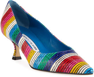 Manolo Blahnik Srila Striped Snakeskin Pumps
