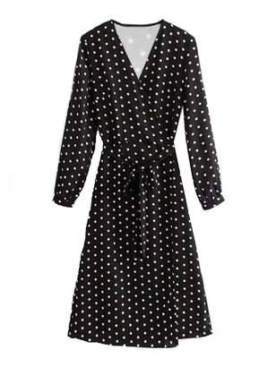 Goodnight Macaroon 'Darlene' Polka Dot Waist Tied Wrap Dress