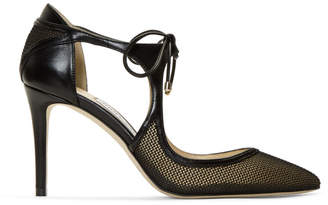 Jimmy Choo Black Mesh and Leather Vanessa 85 Heels