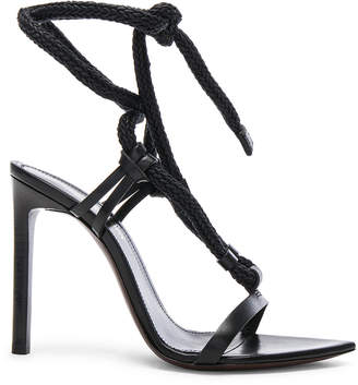 Saint Laurent Majorelle Leather Strappy Sandals in Black | FWRD