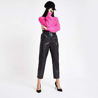 River Island Black faux leather paperbag waist pants
