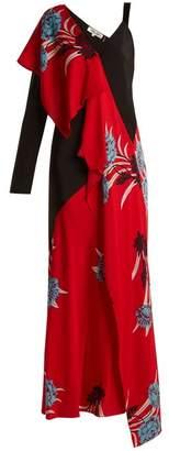 Diane von Furstenberg Farren Asymmetric Floral Print Stretch Silk Dress - Womens - Red Print