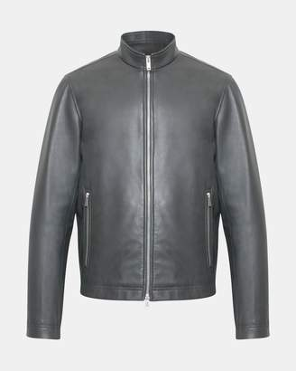 Theory Leather Stand-Collar Jacket