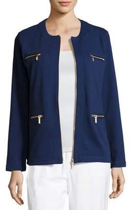Joan Vass Plus Size Stretch Interlock Zip-Front Jacket