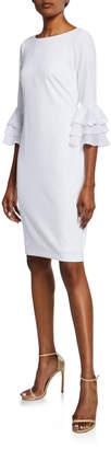 Iconic American Designer Ruffle-Sleeve Sheath Dress