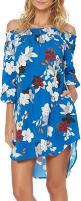 Red Carter Floral Off the Shoulder Cover-Up Dress