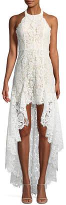Aijek High-Low Sleeveless Lace Halter Cocktail Dress