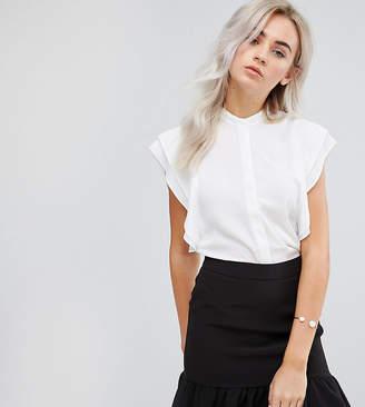 Asos DESIGN Petite blouse with frill shoulder