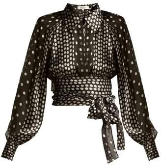 Diane von Furstenberg Polka Dot Silk Blend Chiffon Blouse - Womens - Black Silver
