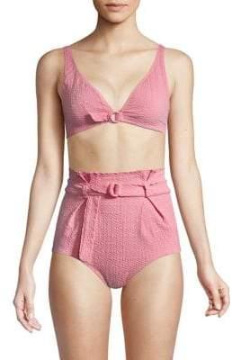 Lisa Marie Fernandez Women's Melissa Paper Bag Bikini - Pink Seersucker - Size Small