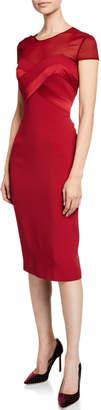 Max Mara Sweetheart Illusion Short-Sleeve Cocktail Dress