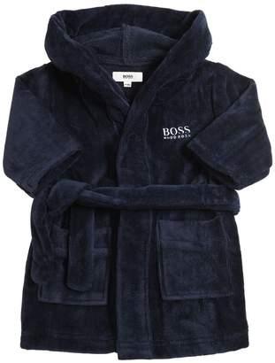 HUGO BOSS Embroidered Logo Cotton Bathrobe