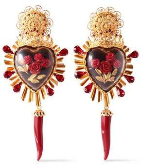 Dolce & Gabbana Gold-Tone Crystal And Resin Clip Earrings
