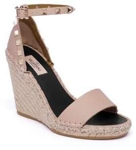 Valentino Women's Rockstud Espadrille Wedge Sandals - Poudre - Size 41 (11)
