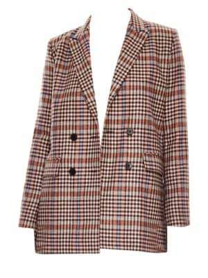 Sandro Women's Solutions Wool-Blend Double-Breasted Plaid Jacket - Size 40 (8)