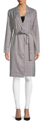 Lucca Couture Charlee Plaid Trench Coat
