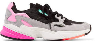 adidas Falcon Mesh, Suede And Faux Leather Sneakers - Black