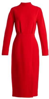 Emilia Wickstead Milan Open Back Wool Crepe Dress - Womens - Red
