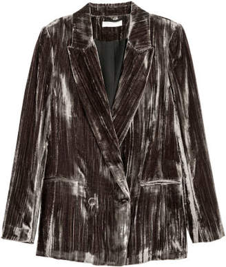 H&M Crushed-velvet Blazer - Brown