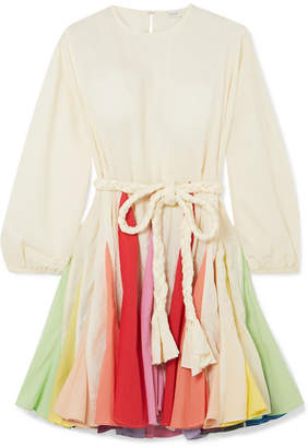 Rhode Resort - Ella Belted Color-block Cotton-voile Mini Dress - Cream