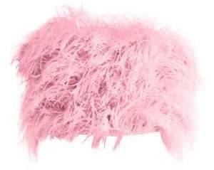ATTICO Women's Ostrich Feather Crop Top - Pink - Size 44 (4)