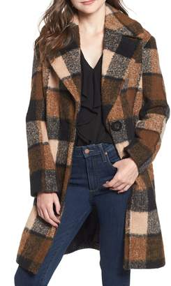 Kensie Plaid Cocoon Coat