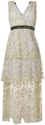 Self-Portrait tiered floral-embroidered dress
