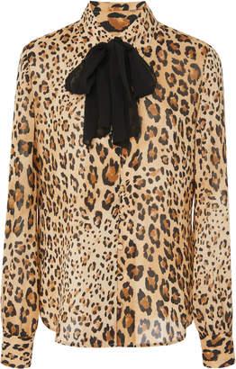 Frame Pussy Bow Leopard Print Silk Chiffon Blouse