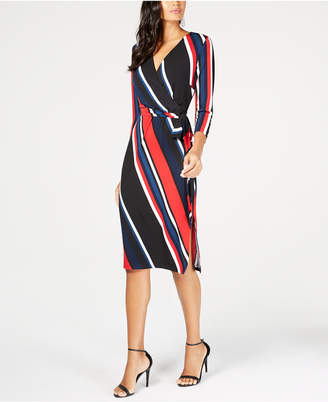 INC International Concepts I.n.c. Striped Faux-Wrap Dress