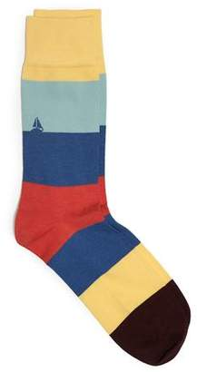Corgi Cotton Blend Bold Stripe Socks with Sailboat
