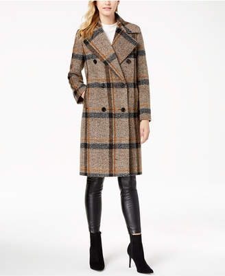 KENDALL + KYLIE Double-Breasted Plaid Walker Coat