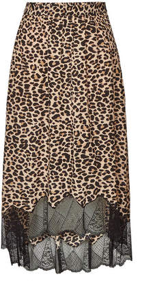 Zadig & Voltaire Joslin Animal Print Skirt with Lace