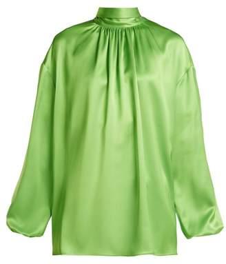Prada High Neck Tie Back Silk Blouse - Womens - Green