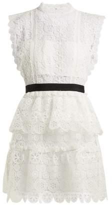 Self-Portrait Self Portrait Floral Lace Bandeau Mini Dress - Womens - White