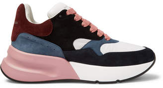 Alexander McQueen Exaggerated-Sole Suede And Mesh Sneakers