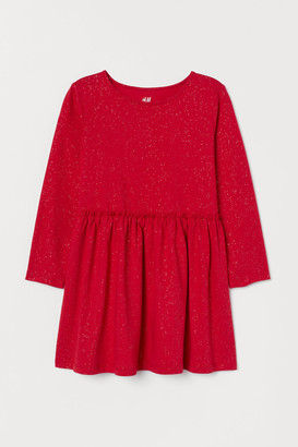 H&M Glittery Jersey Dress - Red
