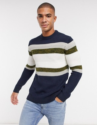 ONLY & SONS sweater in chest stripe blue
