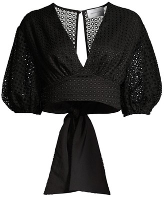 Significant Other Malia Cropped Puff Sleeve Blouse