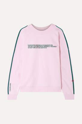Calvin Klein Underwear Statement 1981 Embroidered Cotton-blend Jersey Sweatshirt - Baby pink