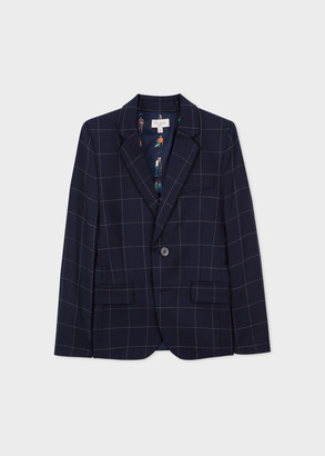 Paul Smith 2-6 Years Navy Windowpane 'A Suit To Smile In' Wool Blazer