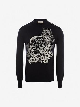 Alexander McQueen Ivy Skull Crew-Neck Sweater