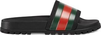 Gucci Men's Web rubber slide sandal